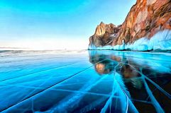 Hielo muy liso y transparente en un lago en invierno, rocas hermosas mountain en la orilla ilustración del vector