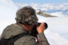 Hielo, nieve y nubes del Shooting del Jungfraujoch Fotografía de archivo
