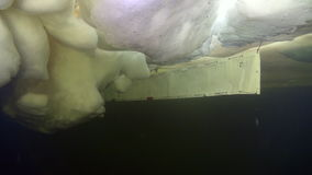 Hielo subacuático en el mar blanco almacen de video