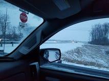 Hielo y nieve 1/16/18 de Portland TN de la carretera 109 Foto de archivo libre de regalías