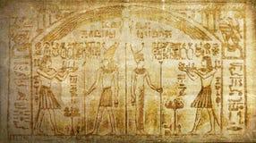 Hieróglifos egípcios antigos da história do vintage do Grunge fotos de stock royalty free