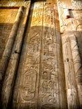 Hieróglifos na coluna mural de Kom-Ombo (Egito) Imagem de Stock