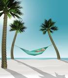 Hier is 3-D teruggeeft illustratie die van die een mens in een hangmat liggen tussen twee kleine palmen op een tropisch strand me stock illustratie