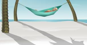 Hier is 3-D teruggeeft illustratie die van die een mens in een hangmat liggen tussen twee kleine palmen op een tropisch strand me royalty-vrije illustratie