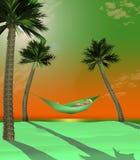 Hier is 3-D teruggeeft illustratie die van die een mens in een hangmat liggen tussen twee kleine palmen op een tropisch strand me vector illustratie