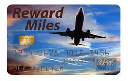 Hier is een de beloningscreditcard van luchtmijlen stock afbeeldingen