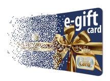 Hier is een e-gift kaart stock foto