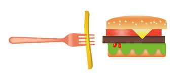 Hier is een gestileerd beeld van een hamburger en frieten Stock Illustratie