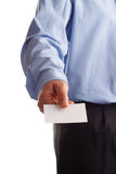 Hier is mijn adreskaartje Stock Foto