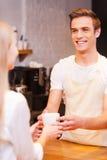 Hier is uw koffie Stock Fotografie