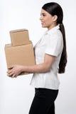 Hier is uw pakketten is de heer! stock fotografie