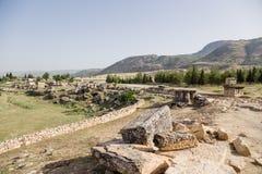 Hierapolis, Τουρκία Άποψη της αρχαιολογικής περιοχής της νεκρόπολη Στοκ Φωτογραφίες