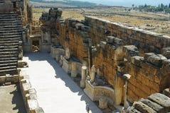 古老城市hierapolis台阶墙壁 免版税图库摄影