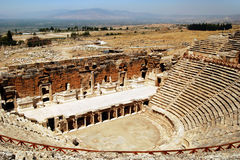 Hierapolis amphitheater. The ruins of the roman theater in Hierapolis/Pamukkale, Turkey Royalty Free Stock Photo