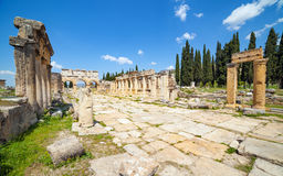 Hierapolis ancient city adjacent to modern Pamukkale in Turkey Stock Image