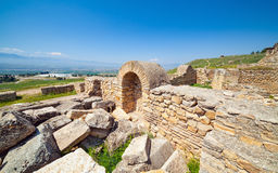 Hierapolis ancient city adjacent to modern Pamukkale in Turkey Stock Photos