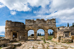 Hierapolis Ancient City, Denizli. Hierapolis was an ancient city located on hot springs in classical Phrygia in southwestern Anatolia. Its ruins are adjacent to Stock Image