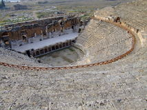 Hierapolis ancient theatre. Hierapolis was the ancient city on top of the famous Pamukkale hot springs located in south-western Turkey near Denizli Royalty Free Stock Photo
