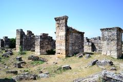 Hierapolis and Pamukkale, Turkey. The ancient city, the ruins of which are located 17 km from the Turkish city of Denizli. Photo taken on:  May 28 Wednesday Royalty Free Stock Image
