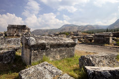 Hierapolis, Turkey. Ancient tombs in the necropolis II - XIX century Royalty Free Stock Image