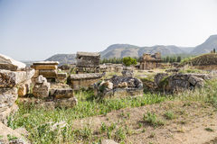Hierapolis, Turkey. Burials of the ancient necropolis Royalty Free Stock Photo