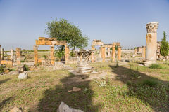 Hierapolis, Turkey. Destroyed buildings on the antique Frontinus street Royalty Free Stock Image