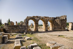 Hierapolis, Turkey. Gate of Domitian (Frontinus) 86-87 years AD Stock Photos