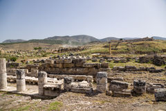 Hierapolis, Turkey. Marble columns of the portico, the first half of I century AD Stock Photos
