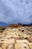 Hierapolis in Turkey. Pamukkale. Ruins of ancient Hierapolis at sunset, Pamukkale. Turkey. 20 july, 2014 Stock Image