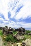 Hierapolis in Turkey. Pamukkale. Ruins of ancient Hierapolis at sunset, Pamukkale. Turkey. 20 july, 2014 Stock Images