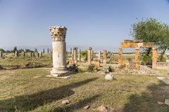 Hierapolis, Turkey. Ruined buildings on the antique Frontinus street Royalty Free Stock Photos
