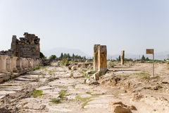 Hierapolis, Turkey. Ruins along the antique street Royalty Free Stock Photography