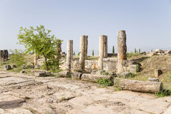 Hierapolis, Turkey. Ruins along the colonnade Frontinus Street, 1st century AD. Hierapolis - ancient city, founded in the II millennium BC, the ruins of which stock photography