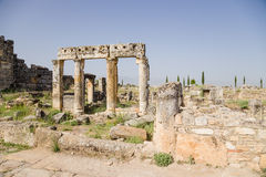 Hierapolis, Turkey. Ruins of ancient buildings of the city along the Frontinus street Stock Photography