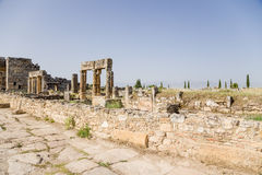 Hierapolis, Turkey. Ruins of the colonnade that runs along the ancient streets of Frontinus Stock Image