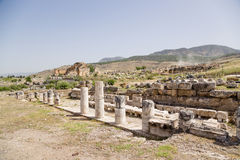Hierapolis, Turkey. The ruins of the marble portico, the first half of the 1st century AD. Hierapolis - ancient city, founded in the II millennium BC, the ruins stock photos