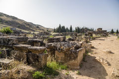 Hierapolis, Turkey. Sarcophagi and crypts in the ruins of the ancient Necropolis. Hierapolis - ancient city, founded in the II millennium BC, the ruins of which Royalty Free Stock Photos