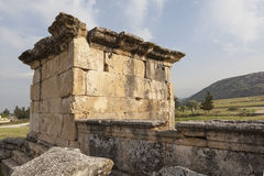 Hierapolis, Turkey. Sarcophagi and crypts in the ruins of the ancient necropolis. Stock Images