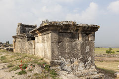 Hierapolis, Turkey. Sarcophagi and crypts in the ruins of the ancient necropolis. Royalty Free Stock Images