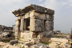 Hierapolis, Turkey. Sarcophagi and crypts in the ruins of the ancient necropolis. Royalty Free Stock Photos
