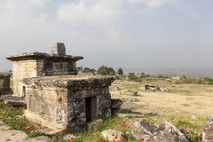 Hierapolis, Turkey. Sarcophagi and crypts in the ruins of the ancient necropolis. Royalty Free Stock Image