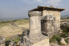 Hierapolis, Turkey. Sarcophagi and crypts in the ruins of the ancient necropolis. Royalty Free Stock Photography