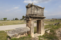 Hierapolis, Turkey. Sarcophagi and crypts in the ruins of the ancient necropolis. Stock Photography