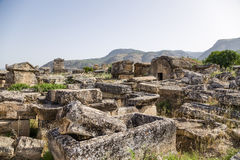 Hierapolis, Turkey. Sarcophagi and tombs in the antique necropolis Royalty Free Stock Photography
