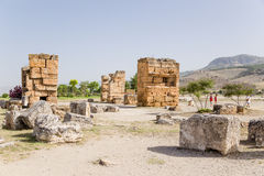Hierapolis, Turkey. Tourists among ancient ruins Royalty Free Stock Photo