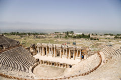 Hierapolis, Turkey. View of the antique theater (1 - 4 centuries AD) and the surrounding area stock photo
