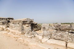Hierapolis Turkiet Antika jordfästningar i nekropolen Fotografering för Bildbyråer