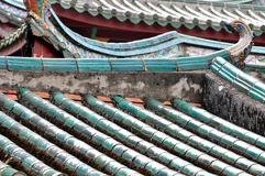 Hierarchical roof in Chinese old temple. Hierarchical colored roof and eave as layer in Chinese old temple, shown as featured traditional architecture and Royalty Free Stock Photography
