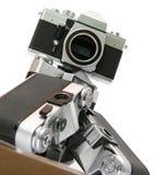 Hierarchie der alten Kameras des Filmes SLR Stockbilder