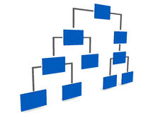 Hierarchy. Diagram in blue, over a white background, showing staff level relationship Royalty Free Stock Image